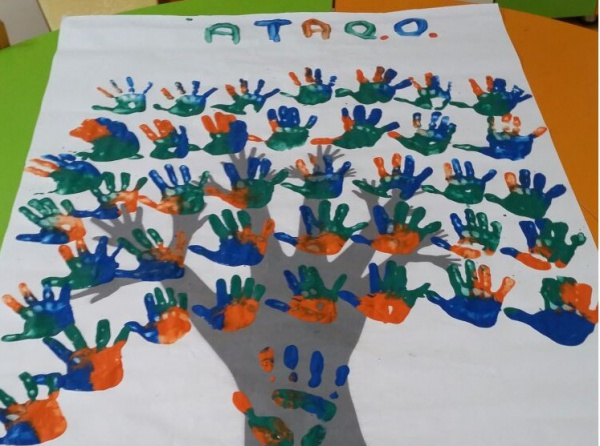 Okul öncesi El Baskısı Ile Sınıf Ağacı çalışması C şubesi Ata